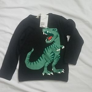 H&M boys black sweater with green dinosaur